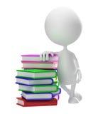Wit karakter met boek Stock Foto