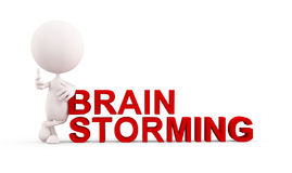 Wit karakter met hersenen het stormen Royalty-vrije Stock Foto's