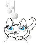 Wit katje royalty-vrije illustratie