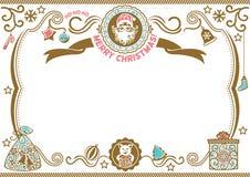Wit Kerstmiscertificaat met Kerstman en Varken Symbool van 2019 Vrolijke Kerstmis h -h-ho royalty-vrije illustratie
