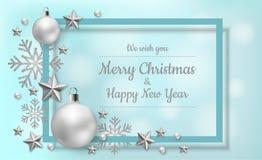 Wit Kerstmiskader met decoratie op blauwe achtergrond stock illustratie