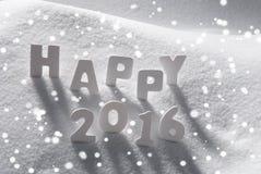 Wit Kerstmisword Gelukkige 2016 op Sneeuw, Sneeuwvlokken Stock Foto