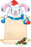 Wit konijn met scrol Royalty-vrije Stock Foto's