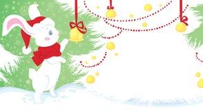 Wit konijn - symbool van Chinese horoscoop Stock Afbeeldingen