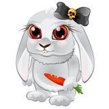Wit konijntje met rode ogen, gebeten wortelen, en zwarte boog met schedel Grappig beeldverhaalhuisdier in het kwade karakter Stock Afbeelding