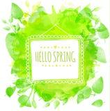 Wit krabbel vierkant kader met de tekst hello lente De groene achtergrond van de waterverfplons met gedrukte bladeren Artistiek v royalty-vrije illustratie