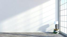 Wit leeg binnenland met een groot venster Stock Afbeelding