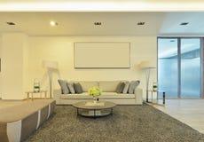 Wit luxe modern het leven binnenland en decoratie, binnenlandse des Royalty-vrije Stock Afbeelding