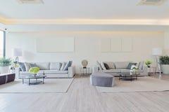 Wit luxe modern het leven binnenland en decoratie, binnenlandse des Royalty-vrije Stock Foto's