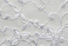 Wit materieel de textuur macroschot van het bloemenkant Stock Afbeeldingen
