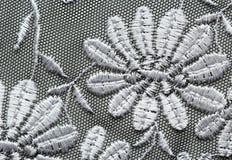 Wit materieel de textuur macroschot van het bloemenkant Stock Afbeelding