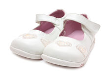 Wit meisjes 's schoen Stock Foto's