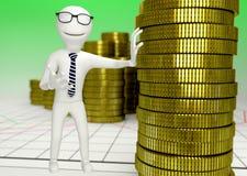 Wit menselijk karakter met een stapel muntstukken Stock Foto