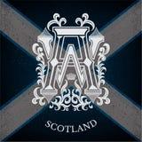 Wit Monogram met Bloemenpatroon op de Vlagachtergrond van Schotland Royalty-vrije Stock Afbeeldingen