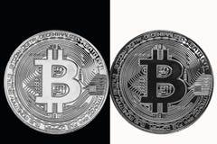 Wit muntstuk op een zwarte achtergrond en een zwart muntstuk op een witte achtergrond Royalty-vrije Stock Foto's