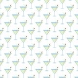 Wit Naadloos Patroon met Martini-Cocktails Stock Fotografie