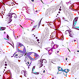 Wit naadloos valentijnskaartpatroon Stock Afbeeldingen