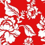 Wit nam op rood traditioneel Russisch ornament toe als achtergrond Stock Afbeelding