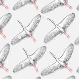 Wit Ooievaarspatroon Vector grote het vliegen vogeltextuur De moderne druk van de doekstof in de aardbehang van 2019 naughty vector illustratie