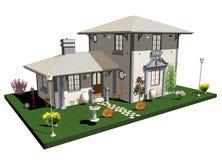 Wit Oud Huis met Tuin Stock Afbeelding