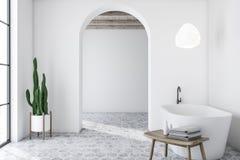 Wit overspannen badkamersbinnenland met ton vector illustratie