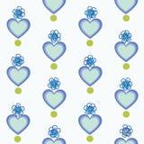 Wit patroon met blauwe hart en bloemen stock illustratie