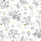 Wit patroon met roze plant en dieren stock illustratie