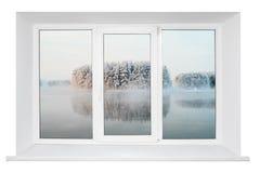 Wit plastic raamkozijn stock afbeeldingen
