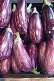 Wit-purpere aubergines - graffityaubergine - nachtschademelongena stock foto's