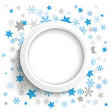 Wit Ring Christmas Stars Snowflakes Royalty-vrije Stock Fotografie