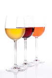 Wit Rood en Rose Wine Royalty-vrije Stock Afbeeldingen