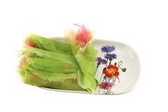 Wit, roze en groene gesponnen suikerkleur Stock Afbeelding