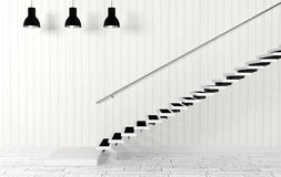 Wit ruimtebinnenland met trap en plafondlampen in moderne en minimale stijl Stock Fotografie