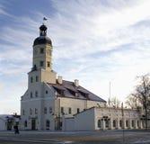 Wit-Rusland, de stad van Nesvizh, stadsstadhuis Stock Afbeeldingen