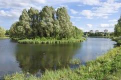 Wit-Rusland, Minsk: een landschap die het kanaal van Slepnyank en het gebied van Serebryank overzien stock afbeeldingen