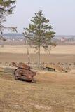 wit-rusland minsk Het museum van de vroegere Lijn van Stalin Roestige tanks Stock Foto's