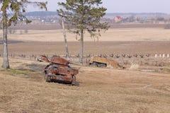 wit-rusland minsk Het museum van de vroegere Lijn van Stalin Roestige tanks Royalty-vrije Stock Fotografie