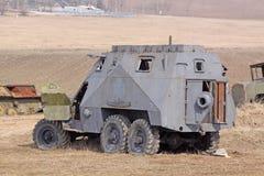 wit-rusland minsk Het museum van de vroegere Lijn van Stalin Roestige tanks Stock Afbeelding