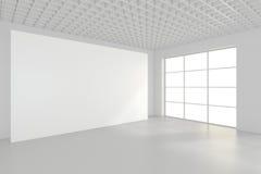 Wit schoon binnenland met leeg aanplakbord het 3d teruggeven Royalty-vrije Stock Afbeelding