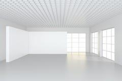 Wit schoon binnenland met leeg aanplakbord het 3d teruggeven Stock Afbeelding