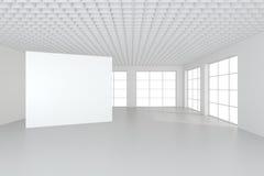 Wit schoon binnenland met lege witte affiche Royalty-vrije Stock Fotografie