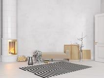 Wit Skandinavisch, klassiek binnenland met laag, fornuis, open haard, tapijt vector illustratie