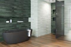 Wit, smaragdgroen zwart de ton zijaanzicht van de luxebadkamers stock illustratie