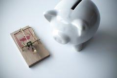 Wit spaarvarken en muizeval Royalty-vrije Stock Afbeelding