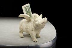 Wit Spaarvarken met Dollar Stock Afbeelding