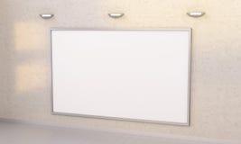 Wit spatiescanvas op muur het 3D teruggeven Stock Afbeelding