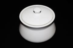 Wit Sugar Bowl Black en wit Stock Afbeelding