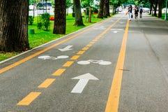 Wit teken dat van fiets en witte pijl één manier op asfaltweg richt Stock Afbeeldingen