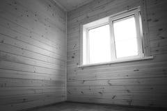 Wit venster, lege ruimte, houten binnenland Stock Afbeeldingen