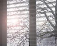 Wit venster Open zonneblinden jaloezie stock afbeeldingen